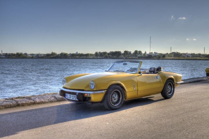 My Triumph Spitfire MKIV 1500 at the Nord-Ostsee-Kanal front view