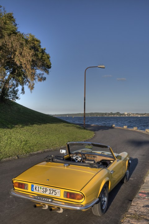 My Triumph Spitfire MKIV 1500 at the Nord-Ostsee-Kanal rear view