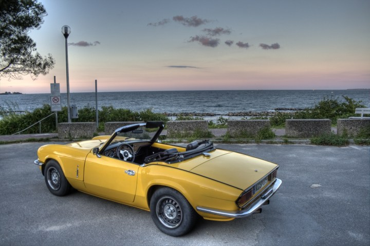 My Triumph Spitfire MKIV 1500 at the baltic sea rear view
