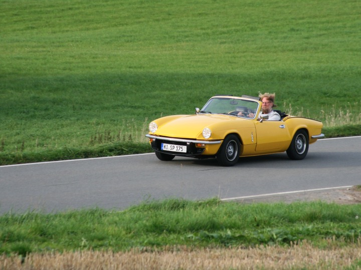 Me driving my Triumph Spitfire MKIV 1500
