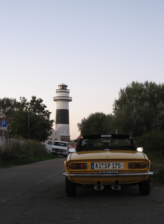 My Triumph Spitfire MKIV 1500 at the lighthouse in Bülk