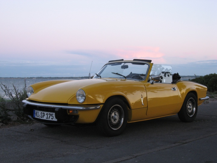My Triumph Spitfire MKIV 1500 at the baltic sea fron view