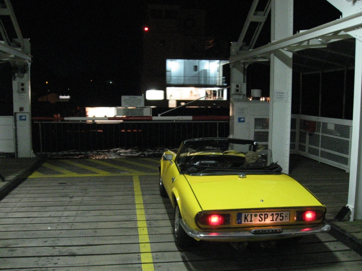 My Triumph Spitfire MKIV 1500 at the hanging ferry in Rendsburg